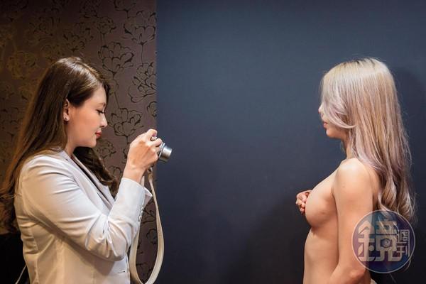 本身對美很要求的Vicky,會龜毛地拍下客人裸胸時不同姿勢、不同角度的照片。