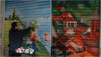 壁畫師畫整牆「淡水夕照」 老人站2天全程看完 哽咽:我就在這長大