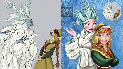 迪士尼公主原始草圖服裝設定 反派艾莎頂大冰柱頭飾、全身動物皮草
