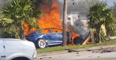 特斯拉撞毀駕駛亡 拖吊後2度自燃