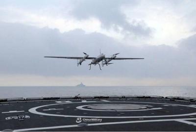 解放軍無人機南海訓練起降艦艇