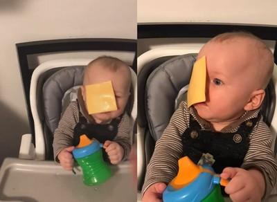 家長起司砸臉挑戰 嬰兒忍淚