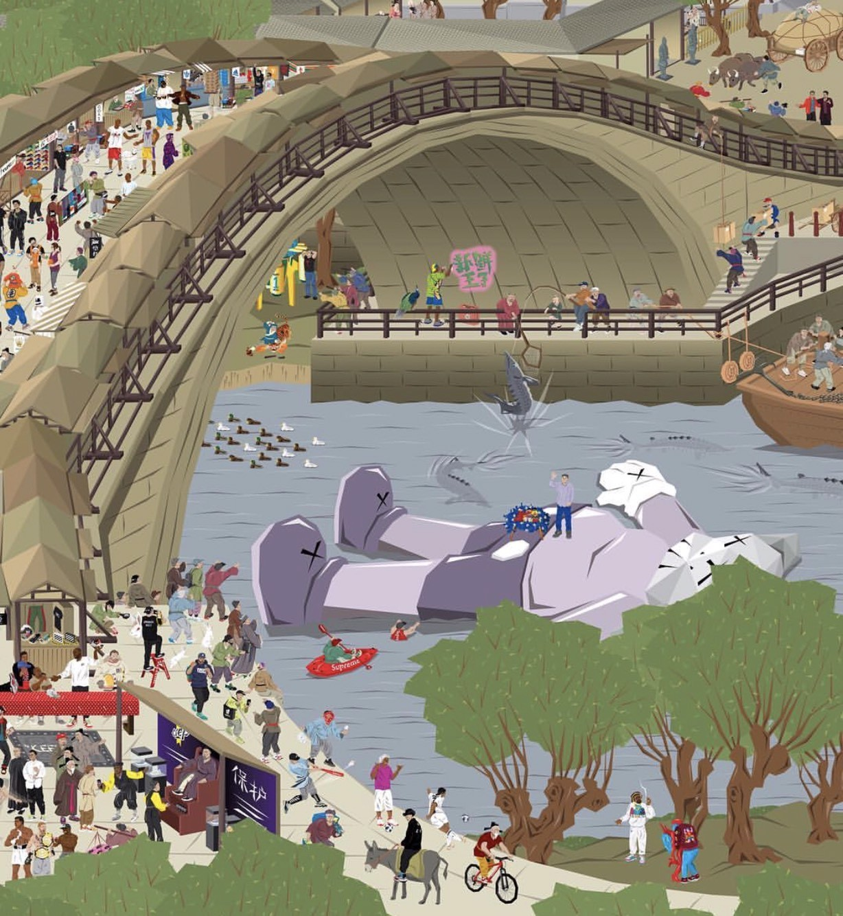 潮流版《清明上河图》细节满满 乔丹与Kobe超帅现身,还有Supreme龙舟大赛