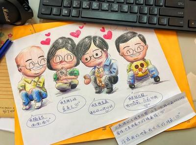 網友送手繪卡片 蘇貞昌:我頭髮比漫畫多