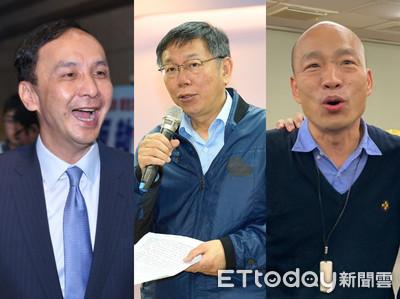 中時民調/2020總統PK  韓、朱都贏柯文哲