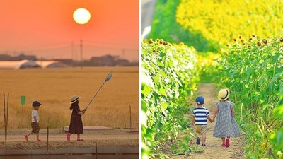 把兒女拍成「宮崎駿角色」 日攝影師讓上萬女粉都感嘆:別人的老公!