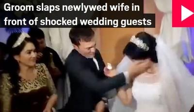 新娘被新郎甩巴掌  只因一小動作