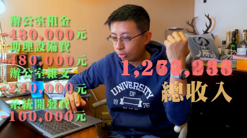 ▲台北市議員「呱吉」邱威傑曝光議員收支。(圖/翻攝自「呱吉」YouTube)