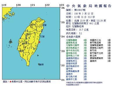 花蓮規模5.2地震!台鐵按地震4級規定辦理