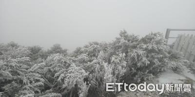 快訊/玉山又下3月雪了! 積雪1公分