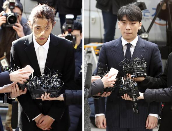 ▲鄭俊英、勝利314抵達首爾地方警察廳。(圖/達志影像)