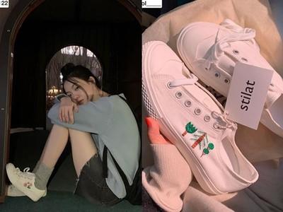 韓妞超愛的stilat手工刺繡帆布鞋