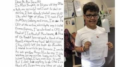 10歲小男孩「認真想開航空公司」 澳航CEO一封回信成了公關經典