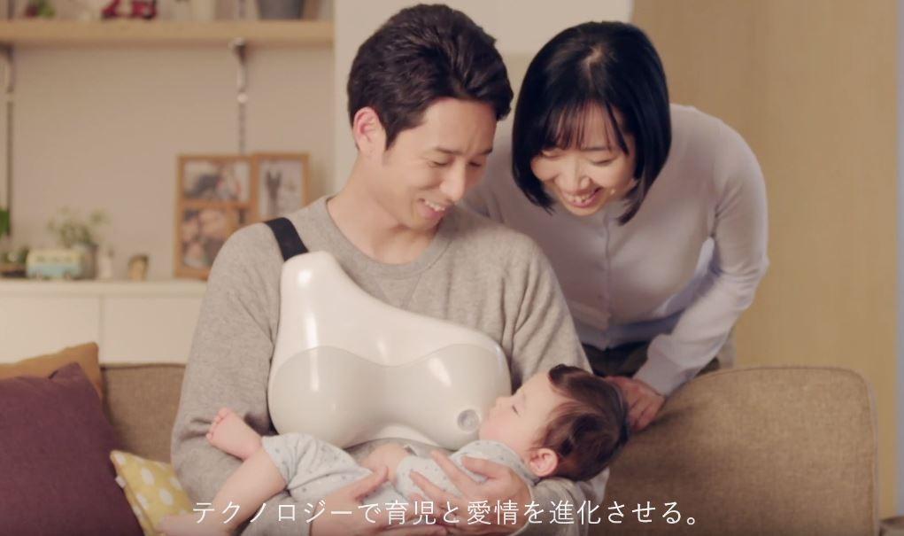 ▲▼日本推出爸爸哺乳背心。(圖/翻攝自YouTube/urdesign)