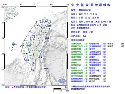 快訊/09:52台東規模5.6地震!最大震度4級