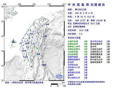 台東規模5.2震!台鐵富里至山里減速