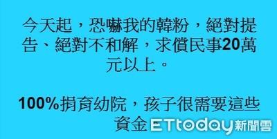 兒童節怒嗆韓粉 王浩宇:求償20萬全捐育幼院