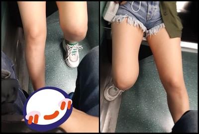 火車「熱褲妹」猛伸辣腿!他羞炸