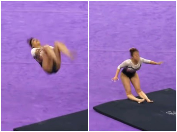 ▲▼薩曼莎在體操比賽中當場折斷腿。(圖/翻攝自youtube)