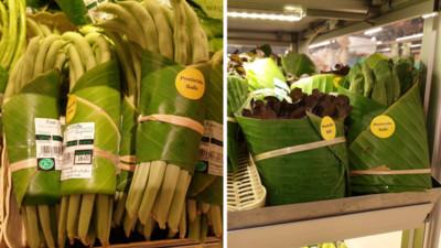 清邁超市減塑!「香蕉葉」包裝商品爆紅 意外引發網友論戰