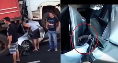 轎車遭2卡車夾心輾壓 司機只剩一隻手