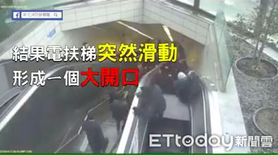電扶梯瞬間「開大口吞人」 消防局驚悚宣導