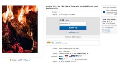 eBay賣聖母院燒焦木材 網:無恥