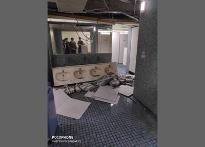 地震台全搖晃! 男宿舍洗手台整個掉落
