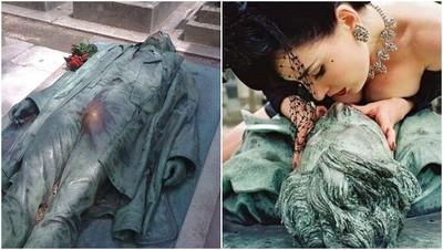 「下面那包」蹭到發亮 墓園雕像被各地正妹狂摸:死後最幸福的男人!