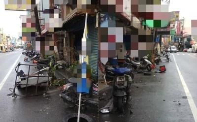 暴雨中猛撞10部機車 奧迪駕駛棄車逃跑