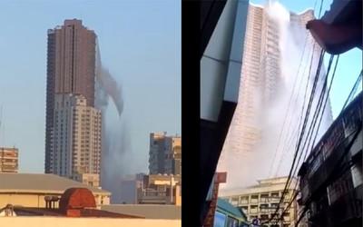 菲國6.3強震 大廈泳池狂瀉變瀑布