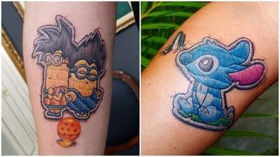 仿布貼的「刺繡紋身」!刺青師故意留線頭 逼真度直線飆升