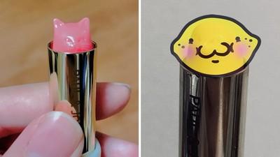 轉開女友的口紅嚇一跳!貓咪造型唇膏用到融化…進化成極地動物