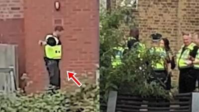 警察杯杯玩嗨了!緝毒行動「脫隊玩跳跳床」英民眾偷錄傻眼:現在是啥狀況