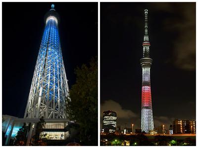 晴空塔秀特別燈光秀 打日本國旗美哭