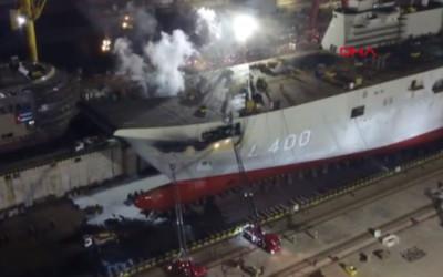 土耳其「第一艘自製航母」船廠內起火