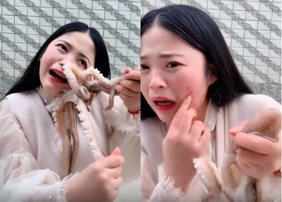章魚逆襲狂吸50秒 女主播噴淚臉破