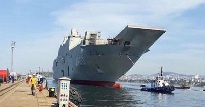 土耳其新航母火災後匆匆下水
