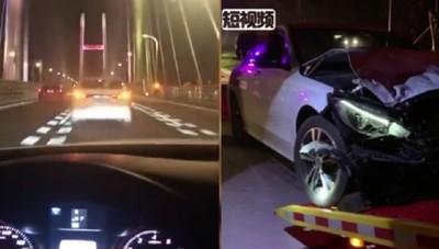 拍夜景給女友 結果拍下自己車禍