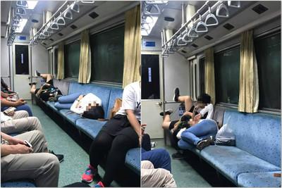中興號「母子3人躺整排座位」 兒腳翹扶手!