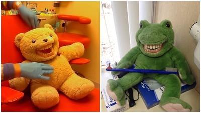 嚇死人!「牙醫娃娃」闊嘴外露人類假牙 求小孩陰影面積