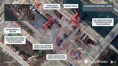 衛星照曝光 中國第三艘航母興建中