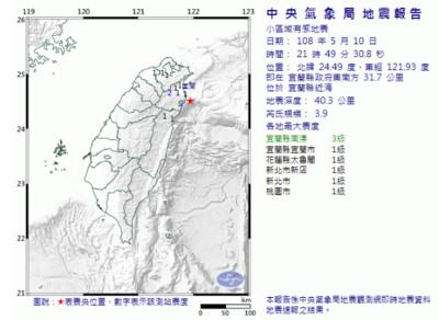 即/宜蘭近海3.9地震!最大震度3級