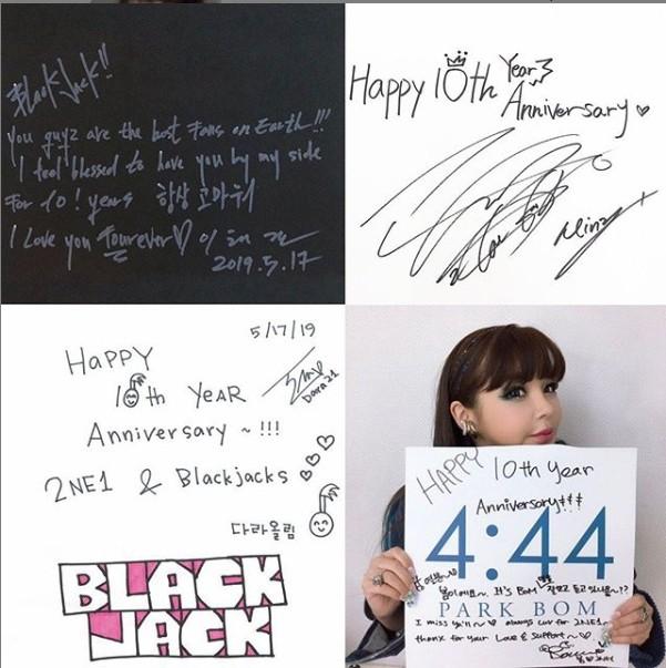 ▲▼2NE1成員們紛紛發文慶祝出道10週年。(圖/翻攝自IG/朴春)