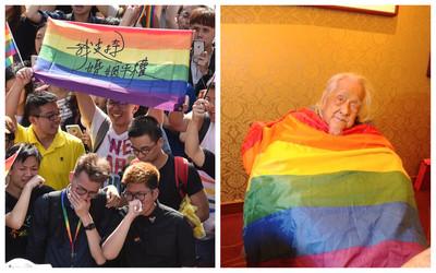 101歲台獨大老史明「披上彩虹旗」