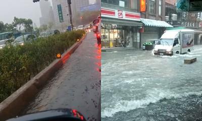 豪雨肆虐淡水!「老街淹成運河」整路遭殃