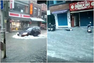 雨彈來襲!淡海輕軌時刻表狂閃 老街慘淹