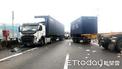 貨櫃車國道追撞 大貨車駕駛頭部重創進加護