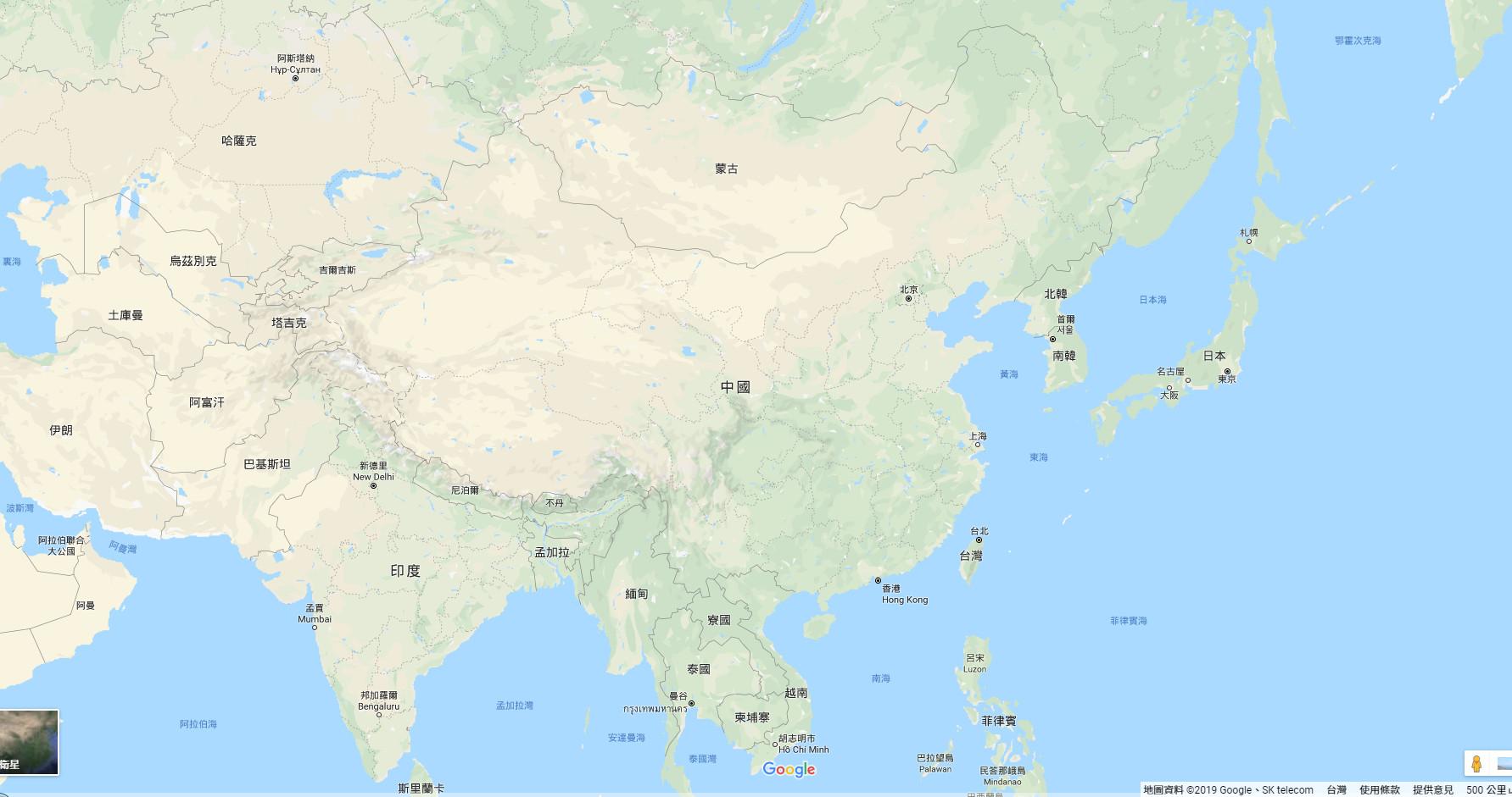 ▲▼東亞地圖(圖/翻攝自Google地圖)