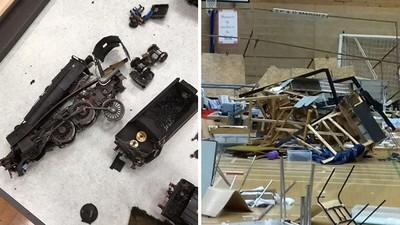 八旬鐵道迷哭紅眼「全沒了!」 屁孩砸爛火車紀念模型,滿地殘骸損失慘